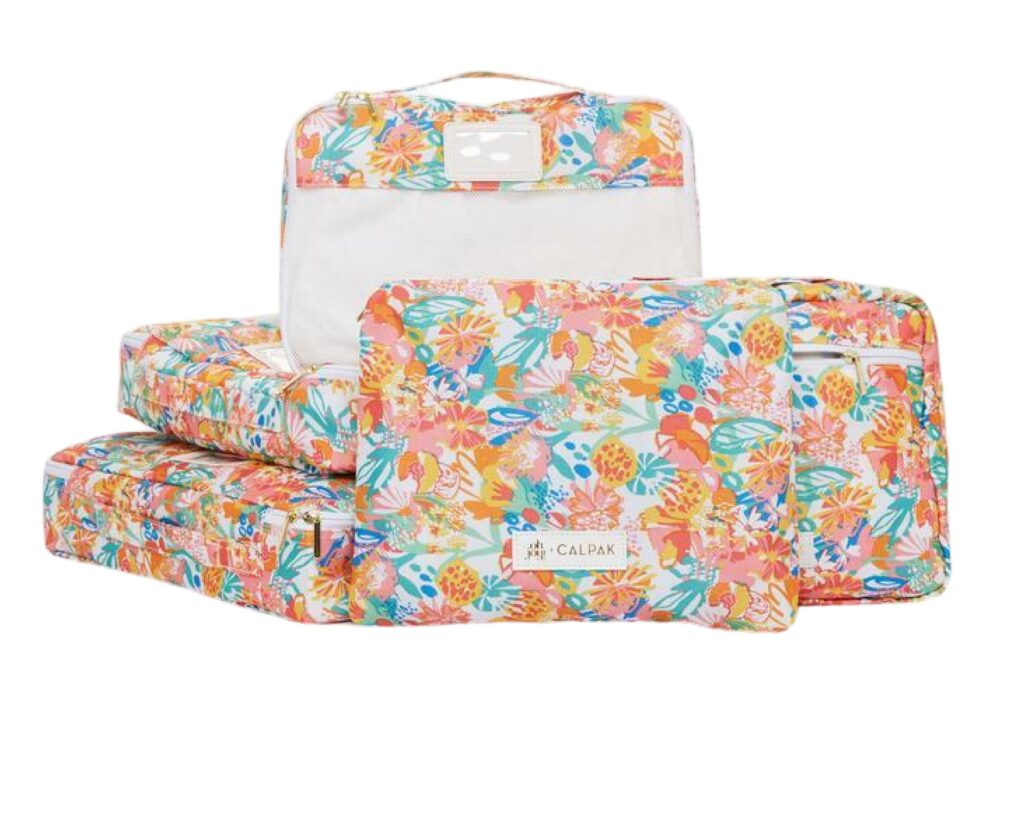 Calpack Luggage Review: packing cubes floral 1