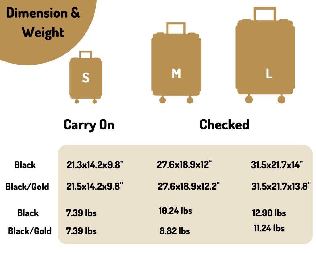 IT Luggage Skulls II Review: black vs gold dimensions