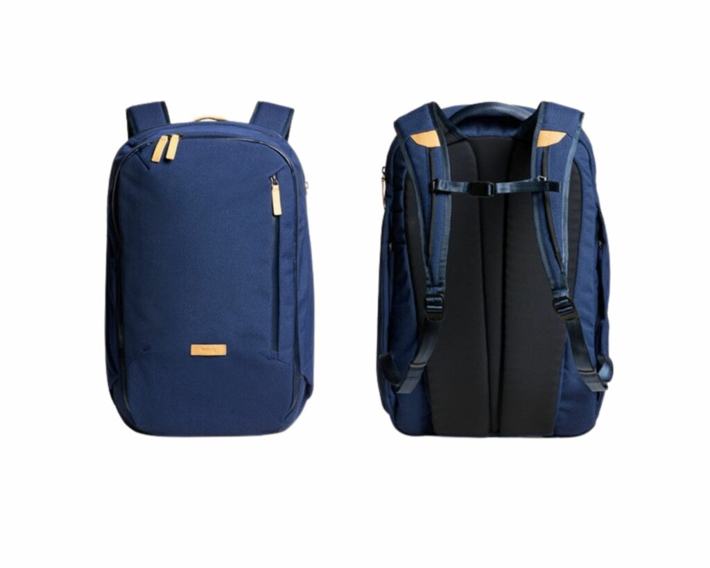 Bellroy Transit Backpack Review: Ink Blue front and back