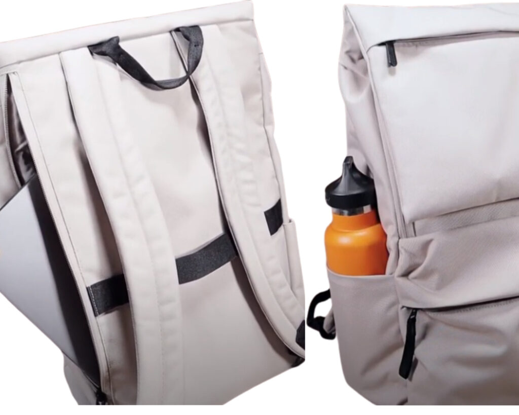 Everlane ReNew Transit Backpack Review: laptop sleeve and bottle pocket