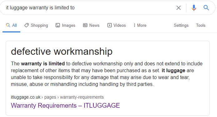 IT Luggage Skulls II Review: warranty limitation