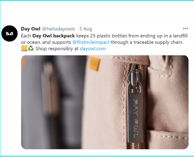 Day Owl backpack review: Twitter image