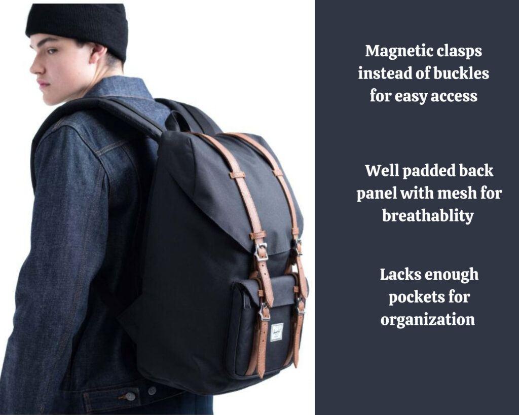 Herschel Little America Backpack Review: Little America backpack on a male model
