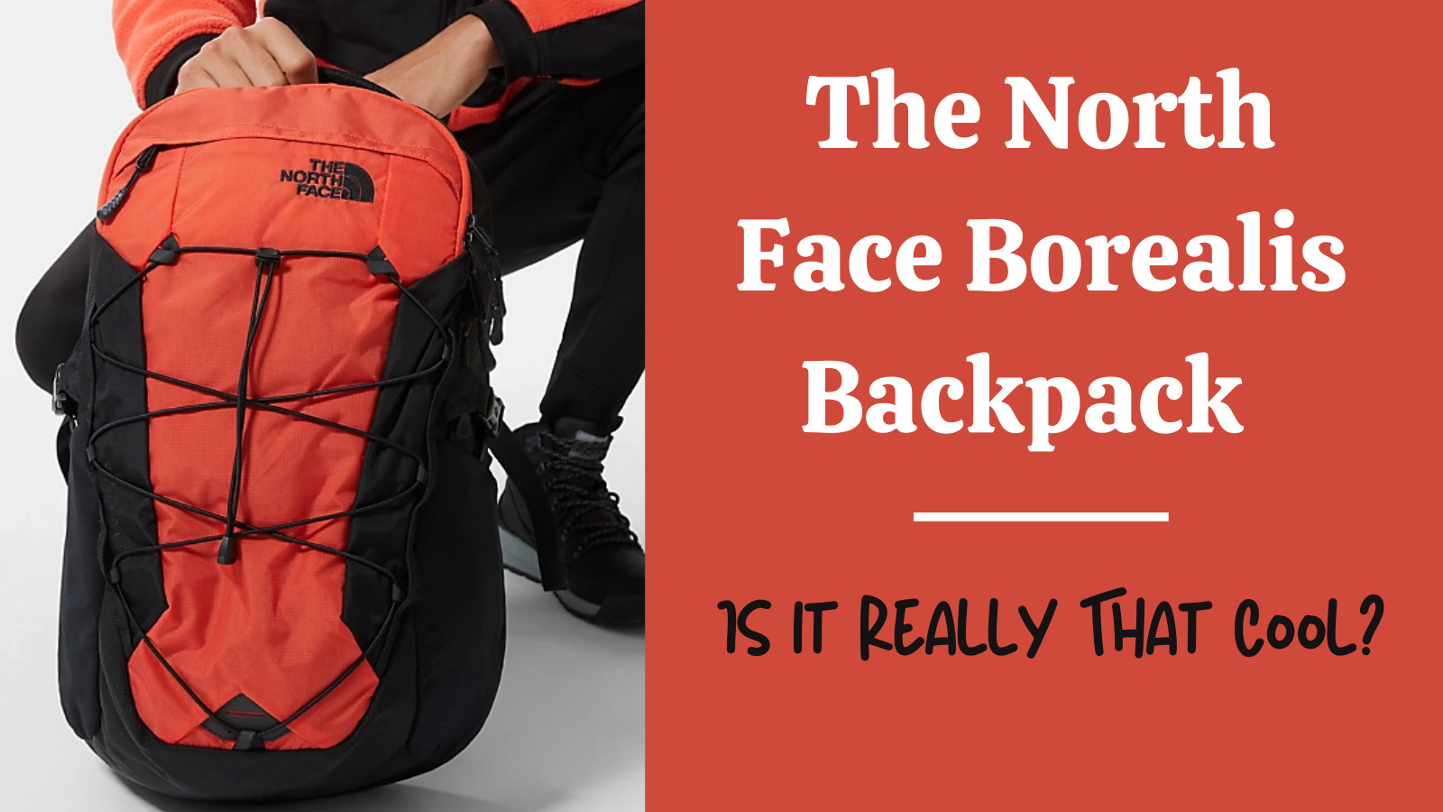 The North Face Borealis Backpack review: feature image of backpack being held by a man on his knee