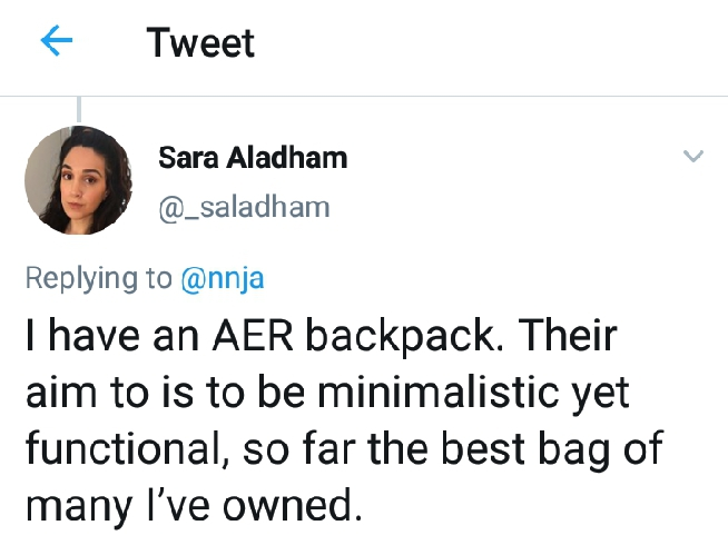 AER Fit Pack 2 review: Twitter image