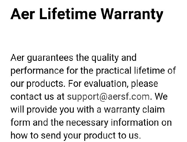 AER Fit Pack 2 review: Warranty
