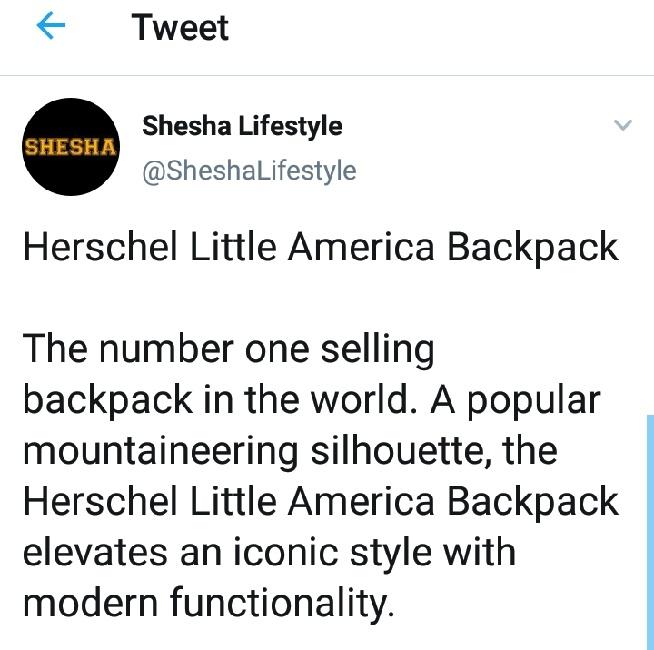 Herschel Little America Backpack Review: Twitter image