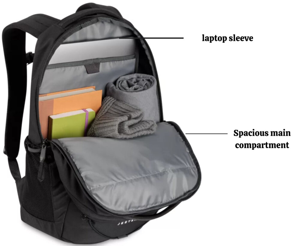The North Face Jester backpack review: The Jester pack inside main compartment