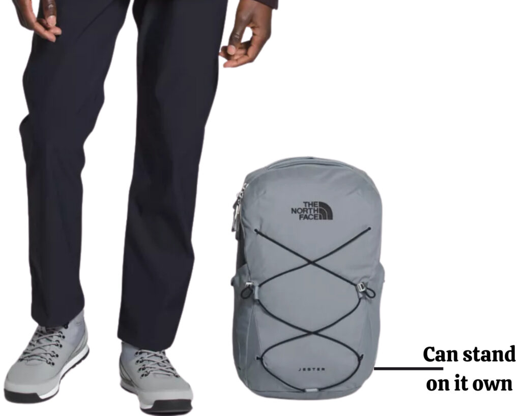 The North Face Jester backpack review: The Jester pack standing unsupported