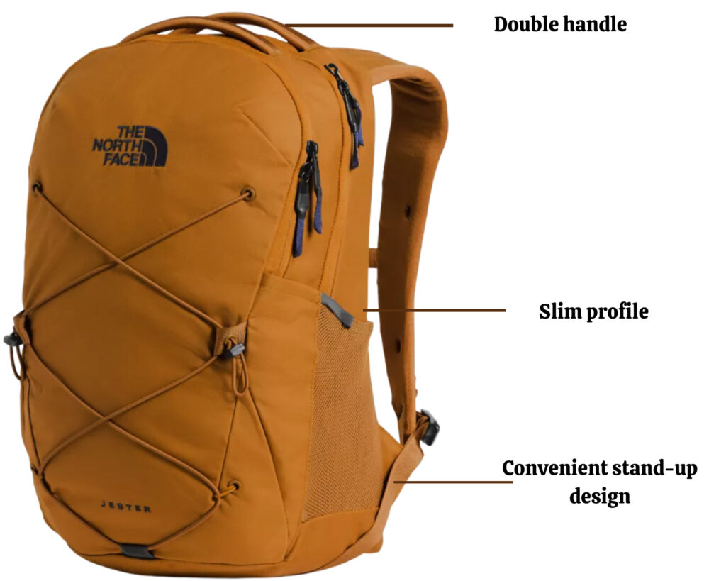 The North Face Jester backpack review: The Jester pack front view