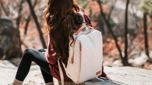 Nordace Siena Backpack review: feature image of woman with Siena backpack