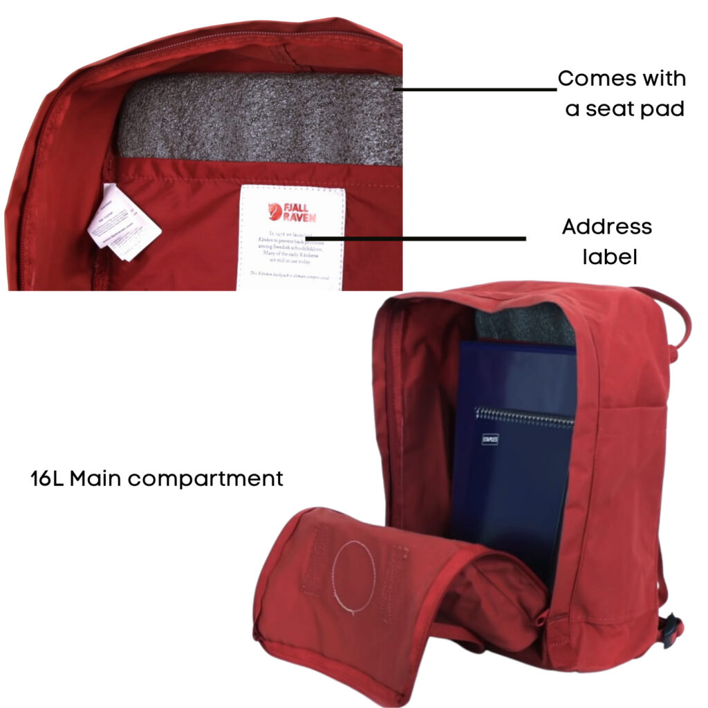 Fjallraven Kanken backpack review: Fjallraven Kanken inside compartmentFjallraven Kanken backpack review: Fjallraven Kankem front and side pockets