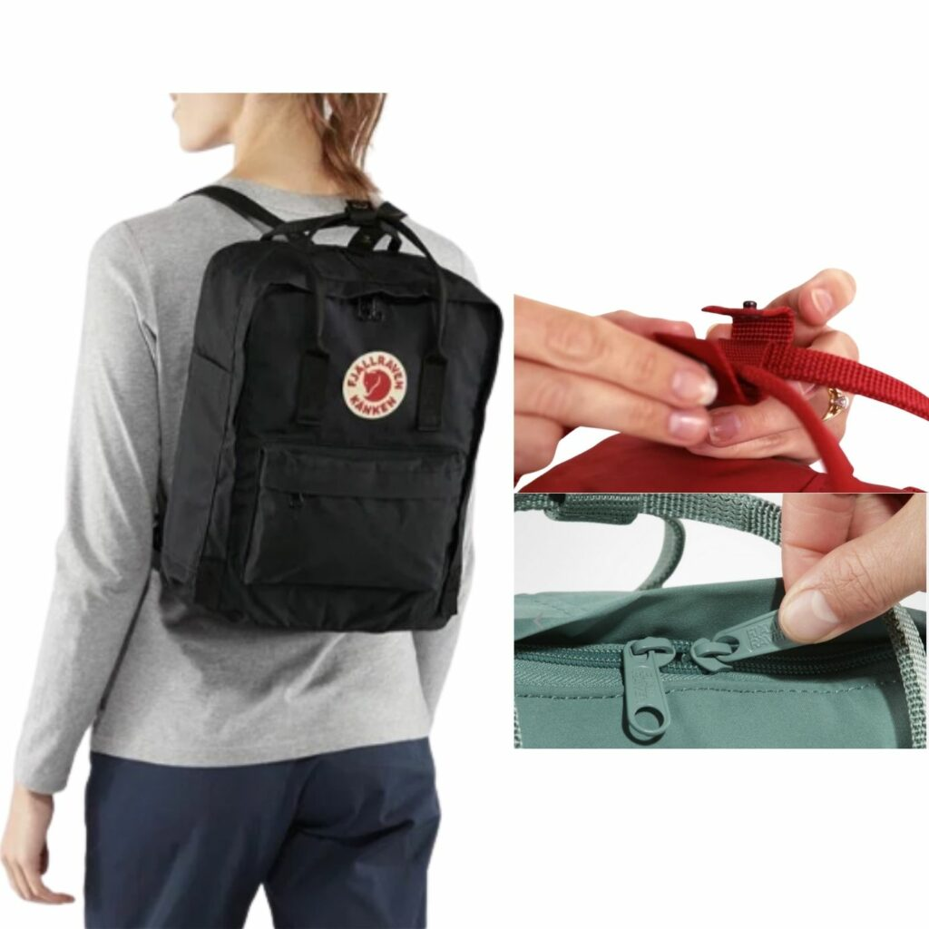 Fjallraven Kanken backpack review: Fjallraven Kanken on a female model