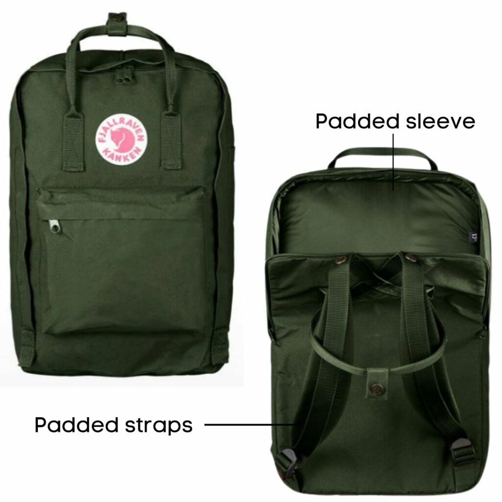 Fjallraven Kanken backpack review: Fjallraven Kanken Laptop model back and front view