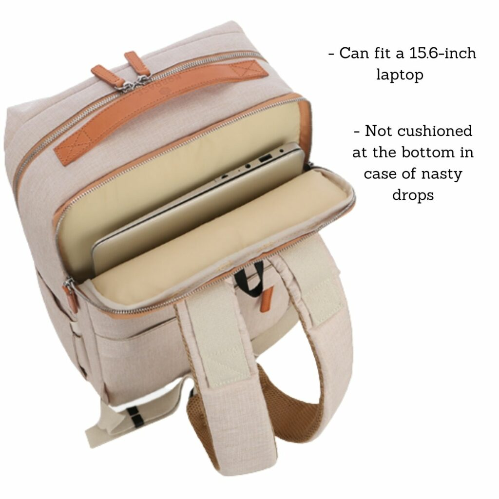 Nordace Siena Backpack review: laptop compartments