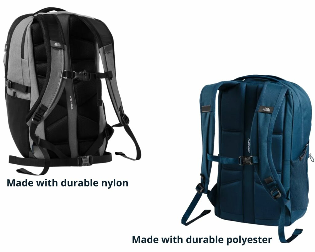 The North Face Borealis backpack vs The Jester: The North Face Borealis and Jester backpack back view