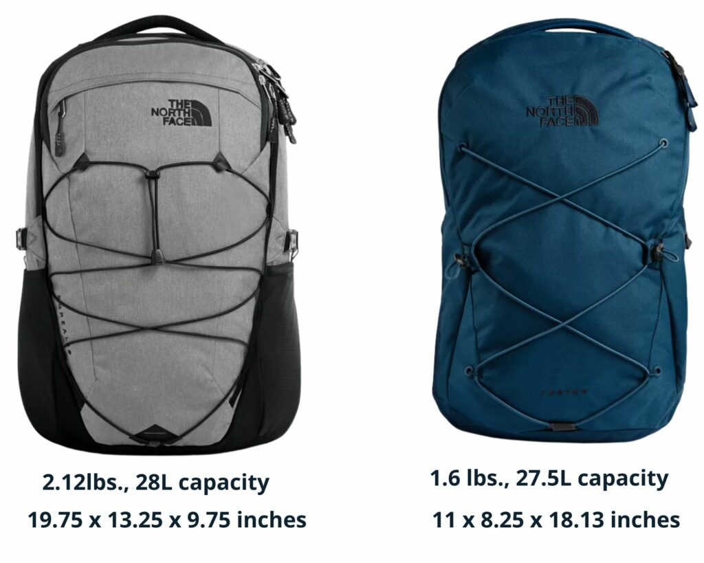 The North Face Borealis backpack vs The Jester: The North Face Borealis and Jester backpacks with weight and sizes