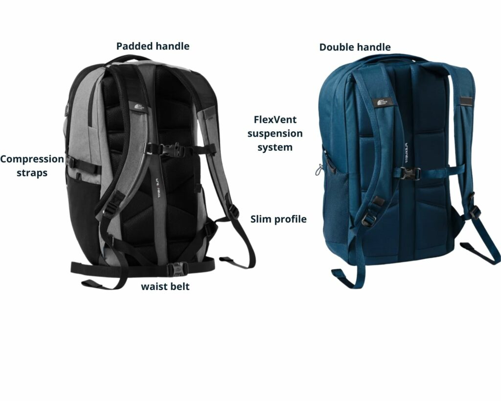 The North Face Borealis backpack vs The Jester: The North Face Borealis and Jester backpack back view with features