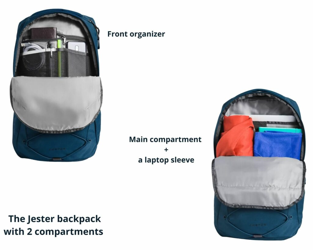 The North Face Borealis backpack vs The Jester: The North Face Jester compartments and pockets