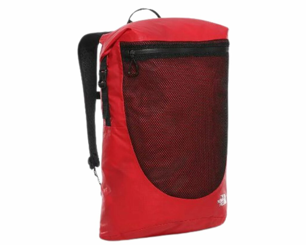 are north face backpacks waterproof: Red North Face waterproof backpack