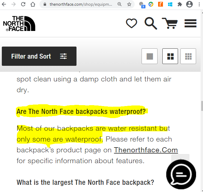 are north face backpacks waterproof - FAQ