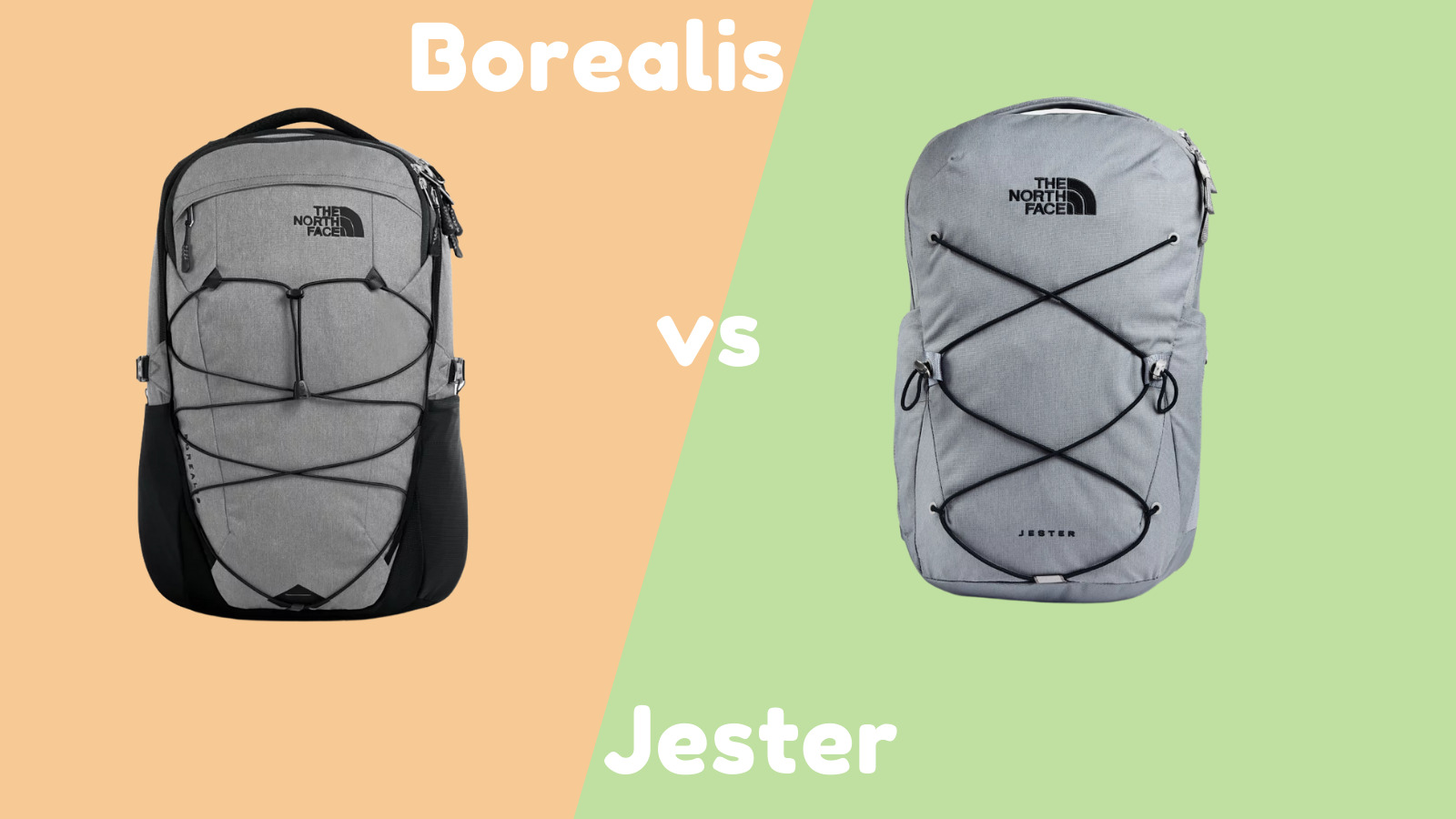 The North Face Borealis vs Jester: The North Face Borealis and Jester backpack front view