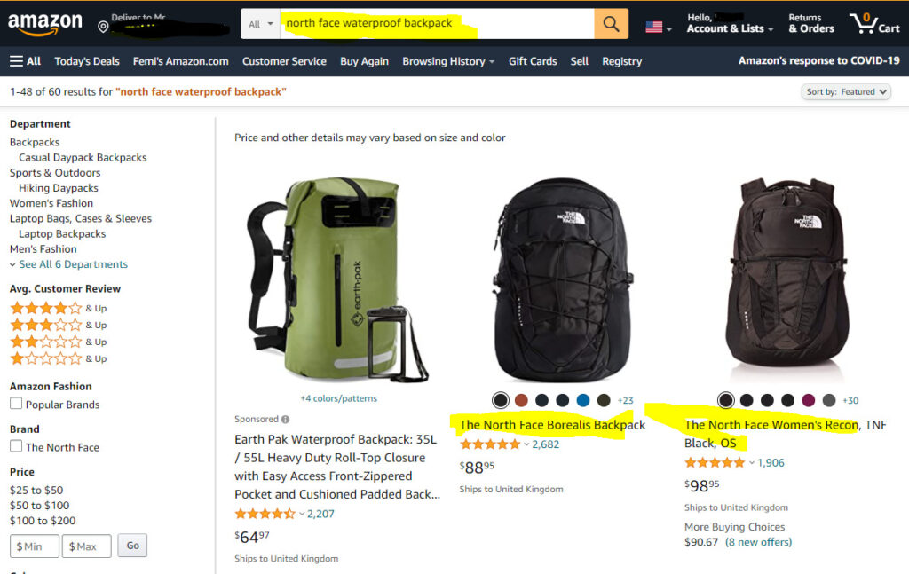 are north face backpack waterproof - amazon search results