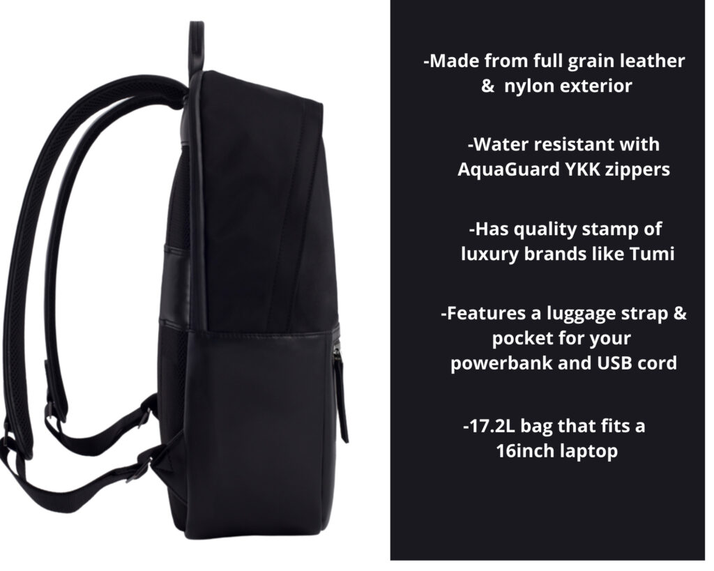 ISM Backpack Review: The ISM Backpack side view with features