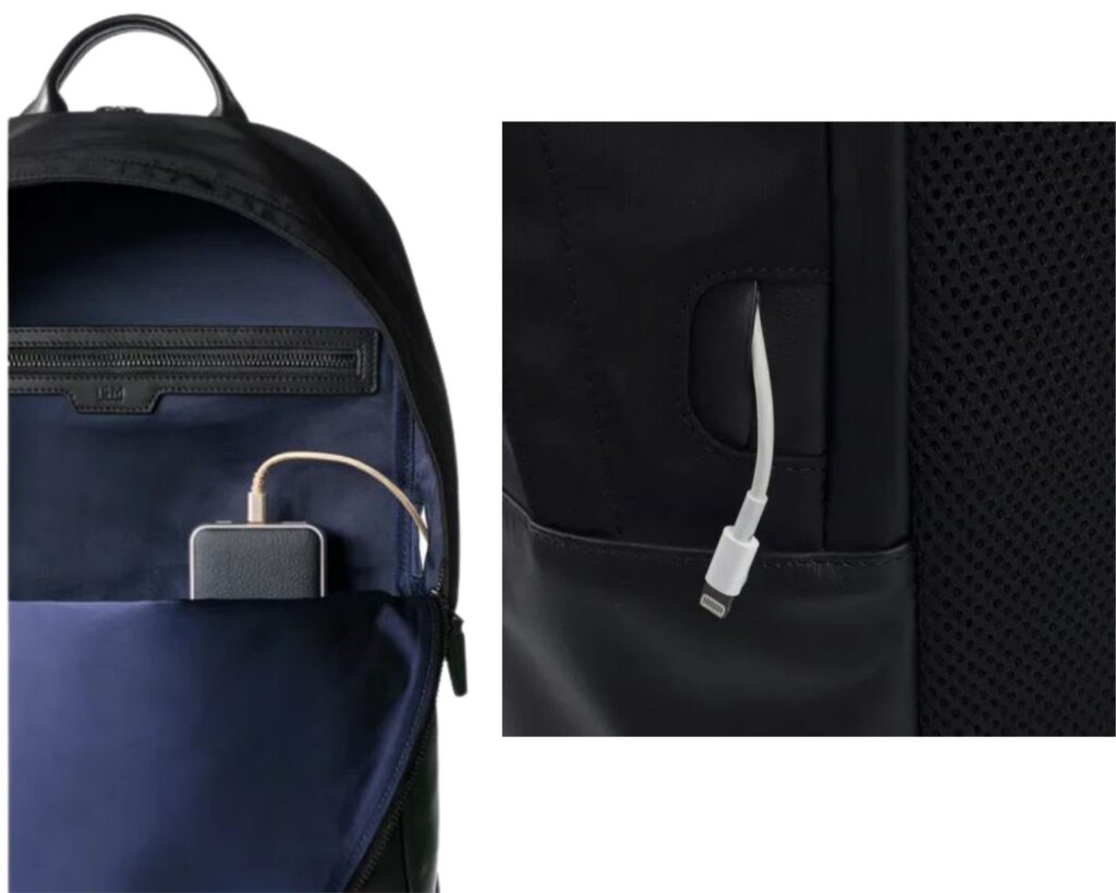 ISM Backpack Review: The ISM Backpack powerbank pocket and USB cord passthrough