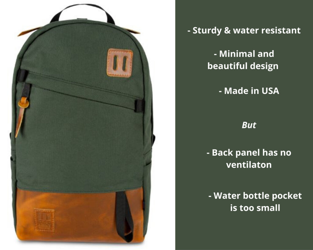Topo Designs Daypack Review: Topo Designs Daypack with features highlighted