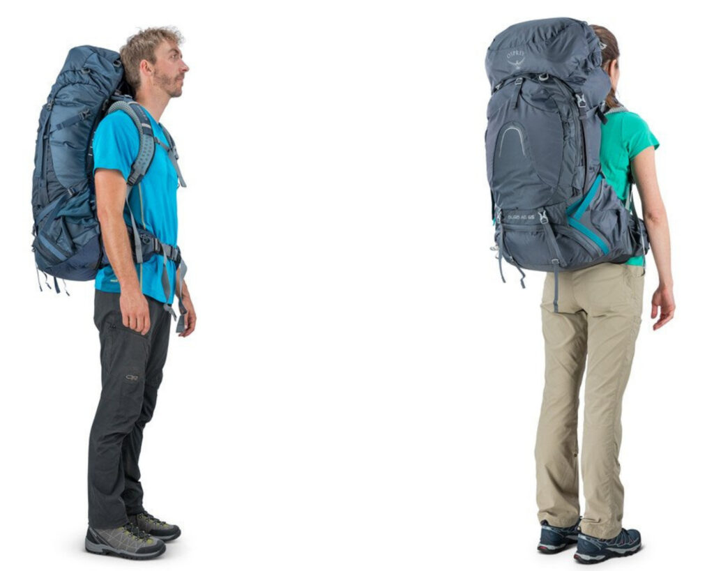 Best backpacks for back pain reviews:Osprey Pack Atmos AG 65 / Aura AG 65 being worn by a male and female model
