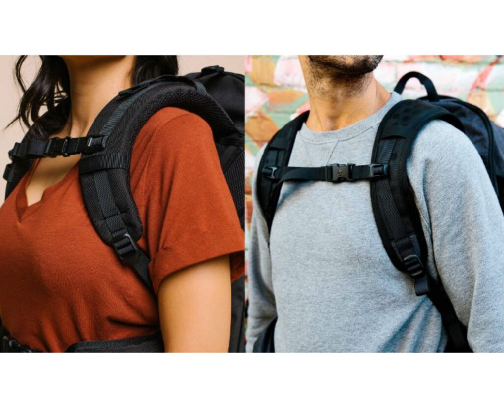 Best backpacks for back pain: Male and female wearing a backpack and complaining about breeze