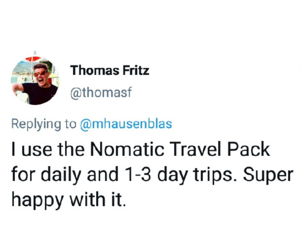 Nomatic Travel Pack review: Twitter image
