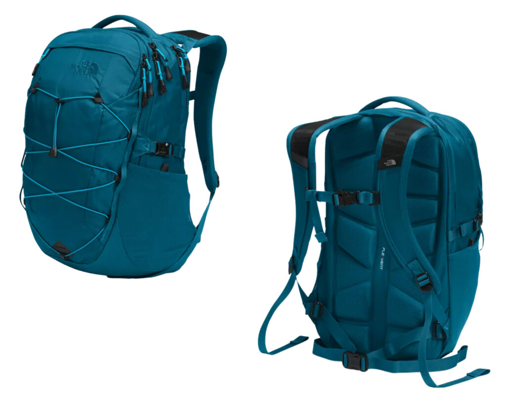 Best backpacks for back pain review: North Face Borealis backpack front and back view