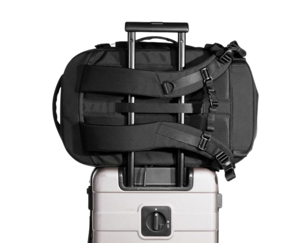 AER Travel Pack 2 review: the AER Travel Pack 2 attached to a rolling wheelie