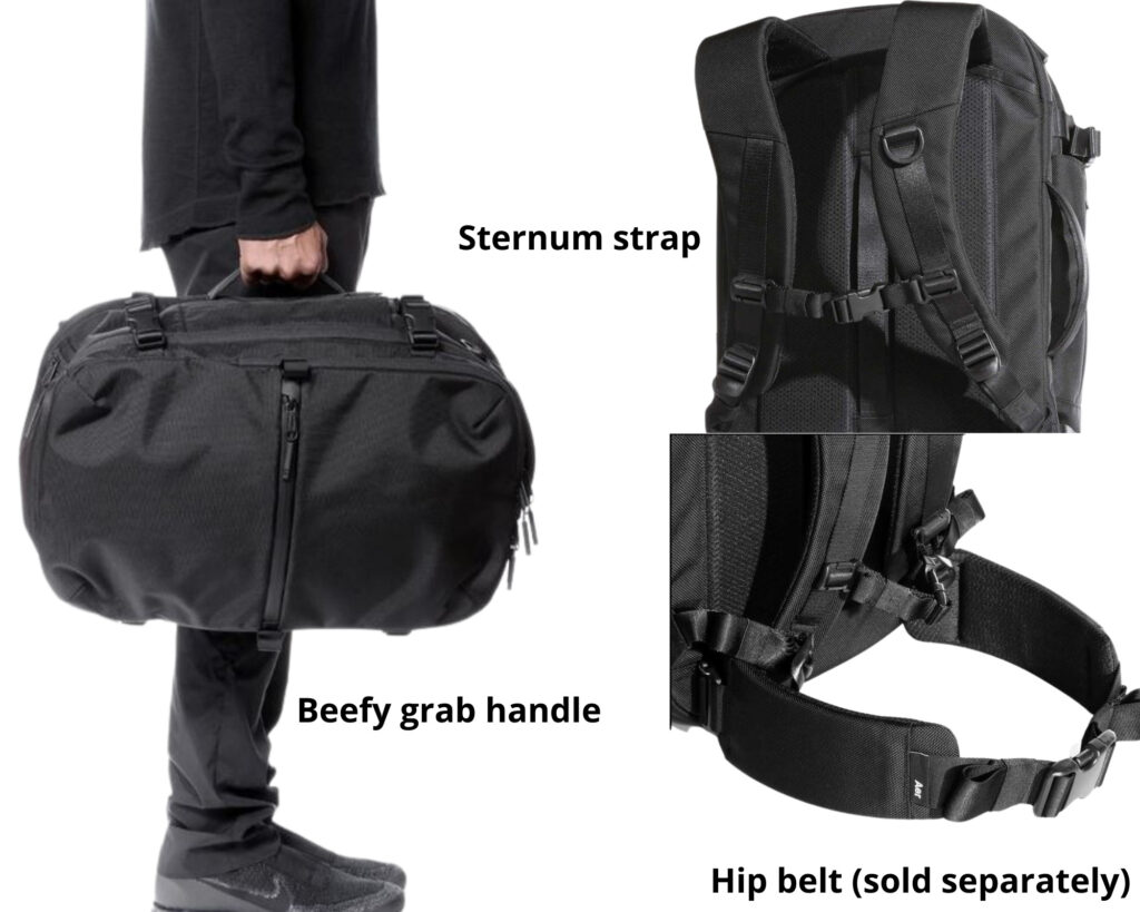 AER Travel Pack 2 review: images of the sternum strap, back panel and the grab handle of the AER Travel Pack 2
