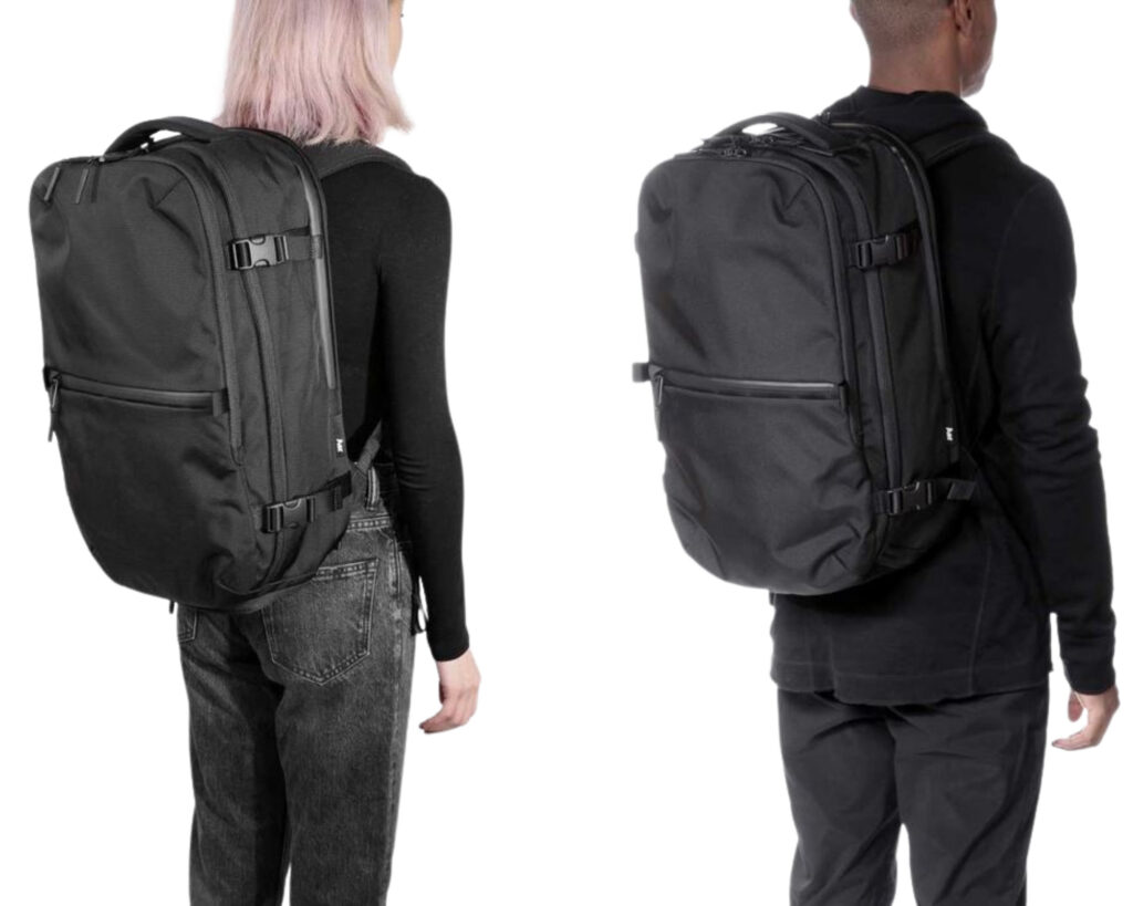AER Travel Pack 2 review: a male and female model wearing the AER Travel Pack 2