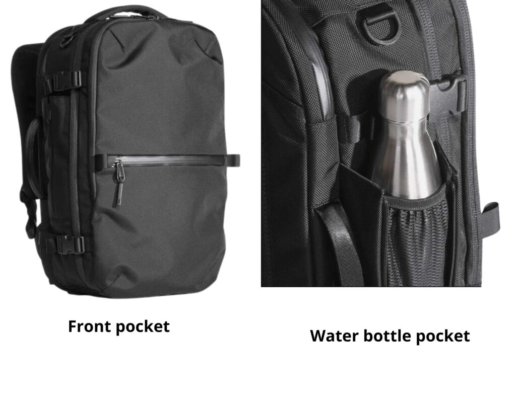 AER Travel Pack 2 review: front pocket and the water bottle pocket of the AER Travel Pack 2