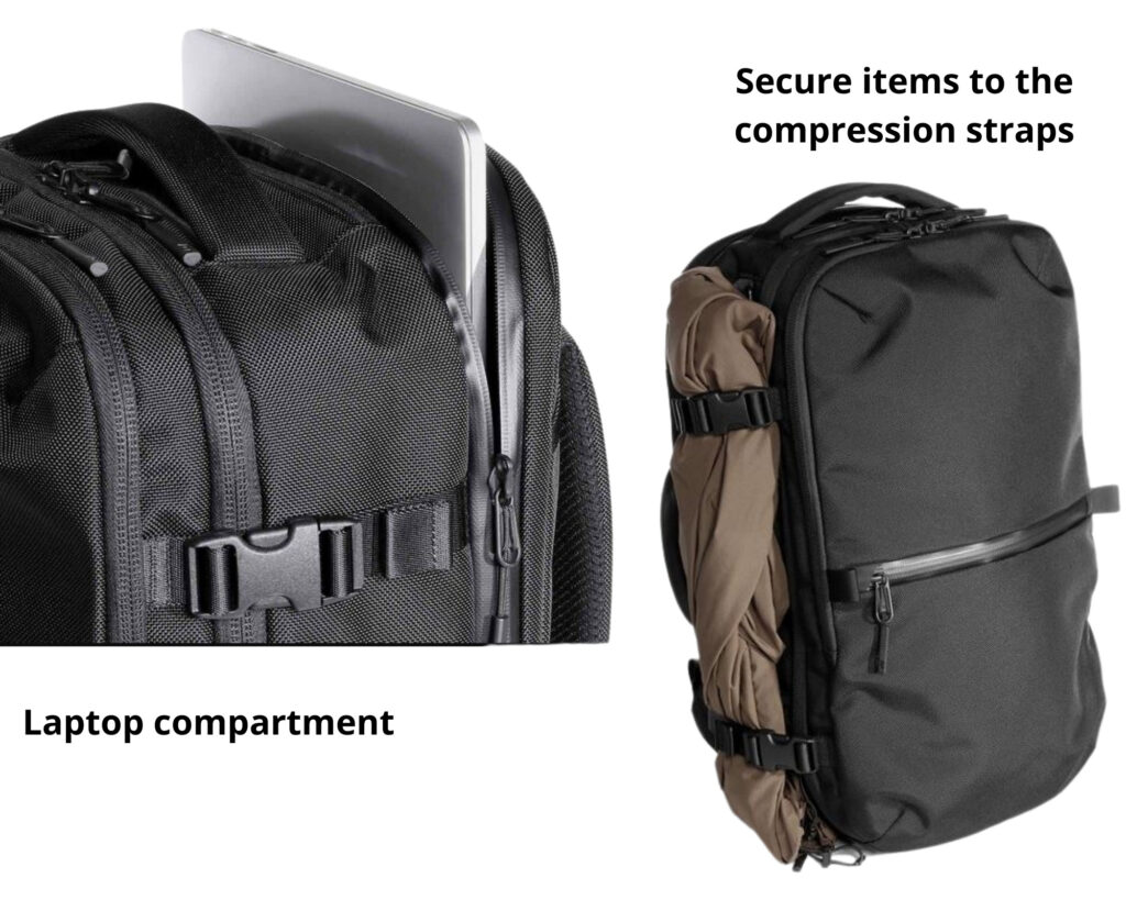 AER Travel Pack 2 review: ;laptop compartment image with the compression straps securing an item