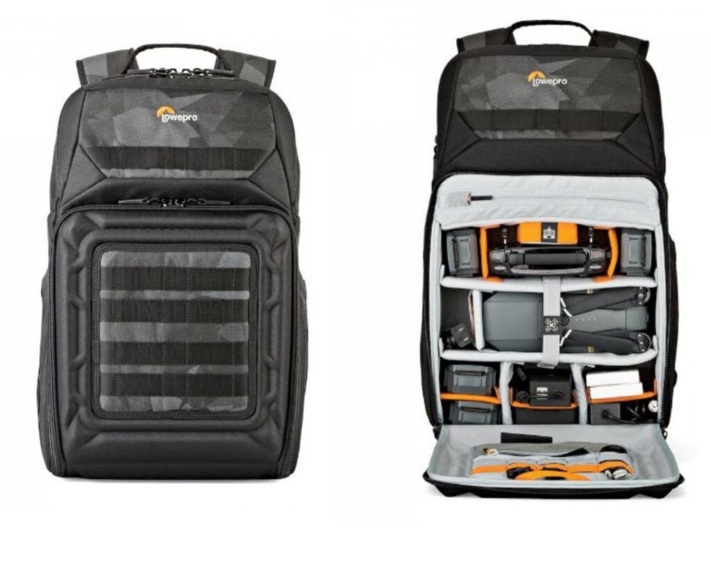 Best backpacks for techies: LowePro DroneGuard BP 250 backpack front and inside compartment view