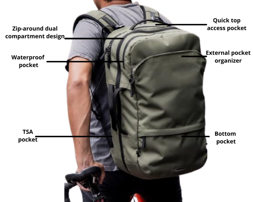 Pakt Travel backpack review: a male carrying the Pakt Travel backpack