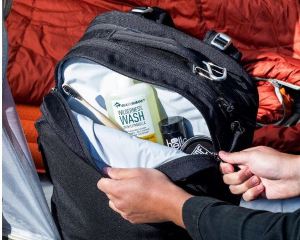 Pakt Travel backpack review: the waterproof pocket of the Pakt Travel backpack