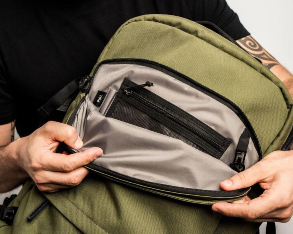 Pakt Travel backpack review: the organizer pocket of the Pakt Travel backpack