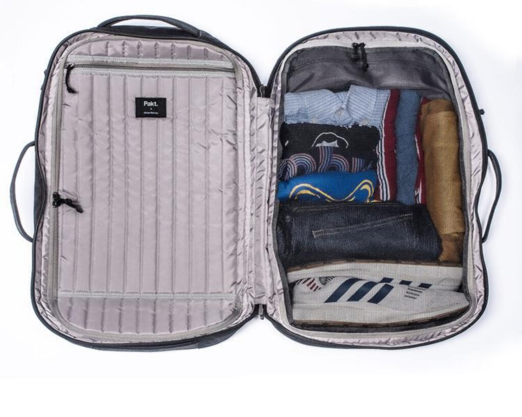 Pakt Travel backpack review: the interior of the Pakt Travel backpack stuffed with travel items