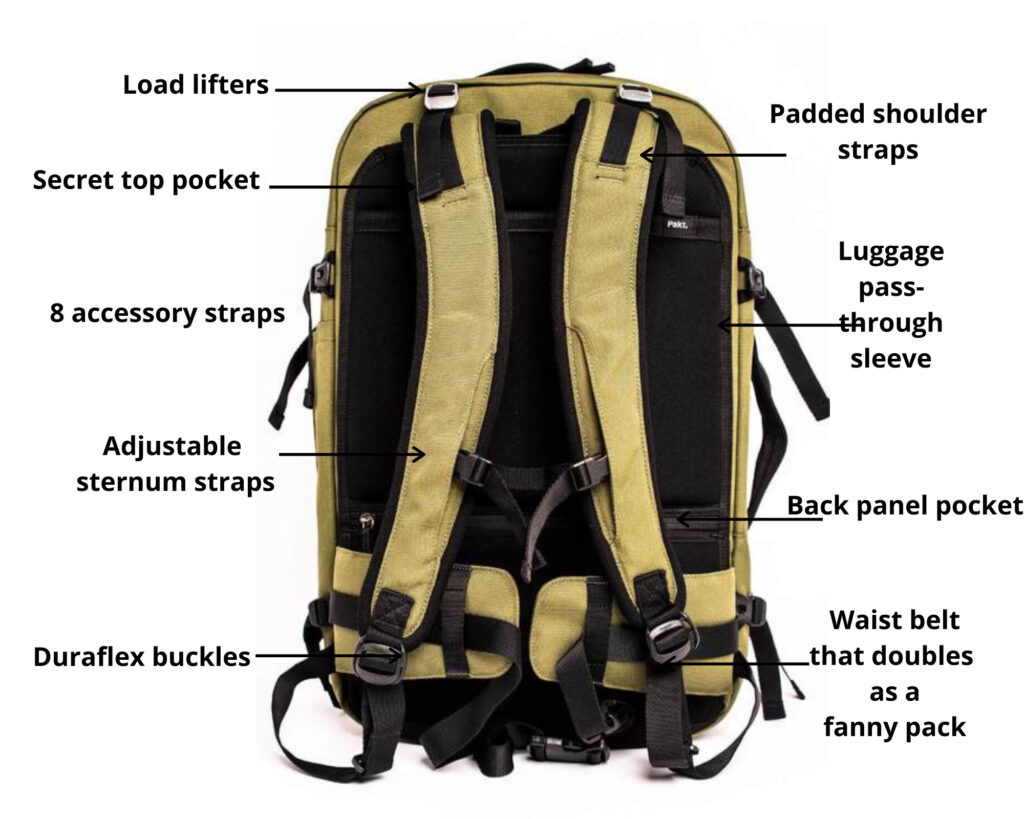 Pakt Travel backpack review: the Pakt Travel backpack back panel with features