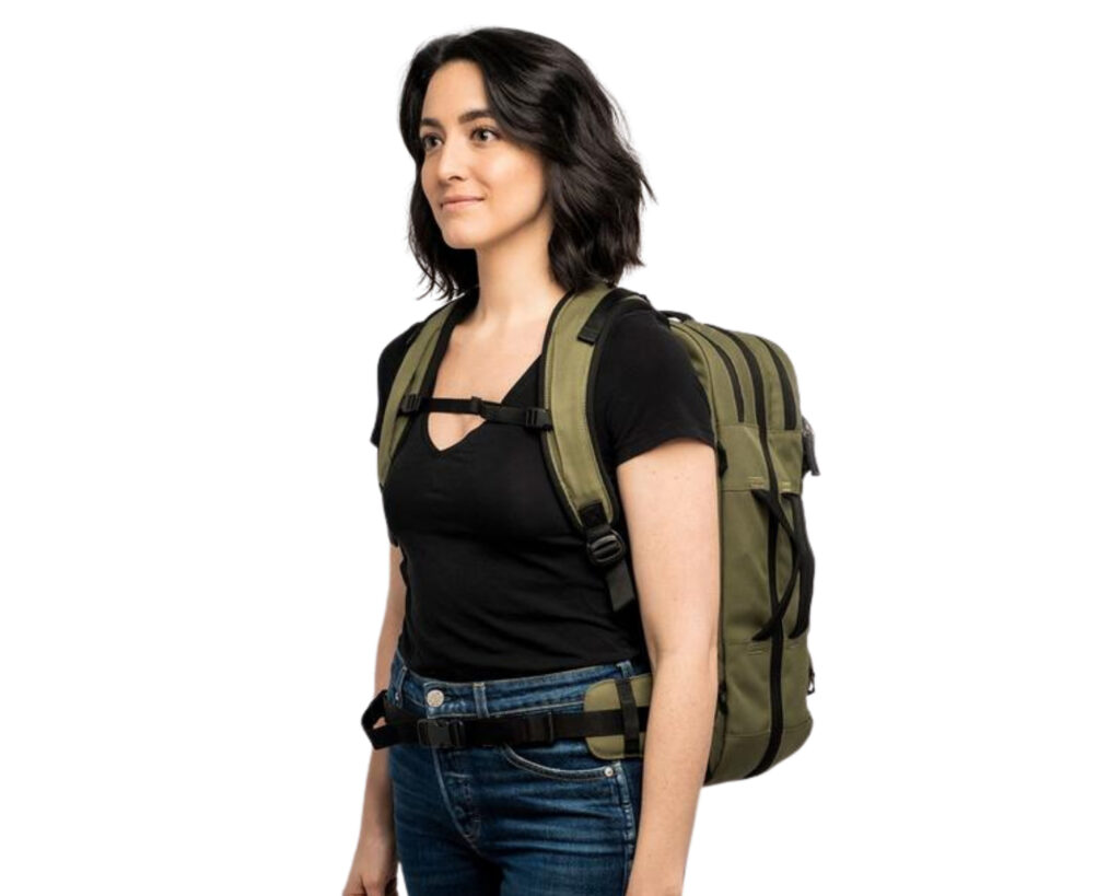 Pakt Travel backpack review: the Pakt Travel backpack worn by a female