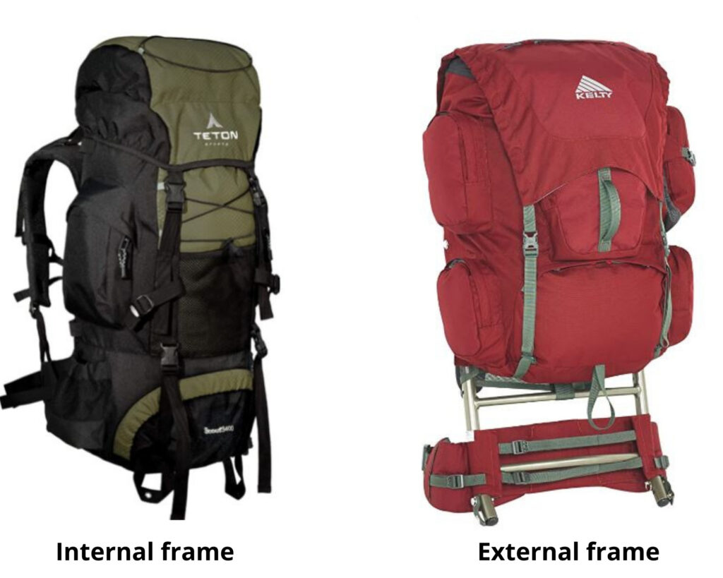 Different types of backpacks: a internal and external frame backpacks