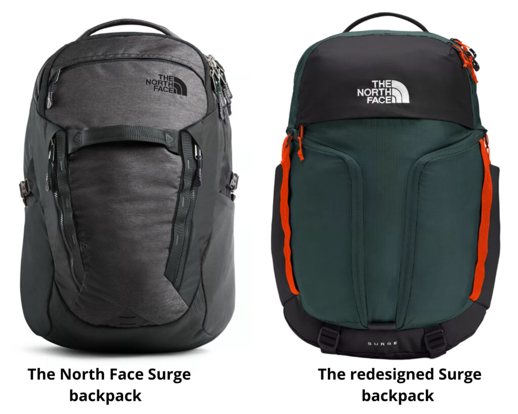 North Face Surge backpack review: the side view of the two versions of the North Face Surge backpacks