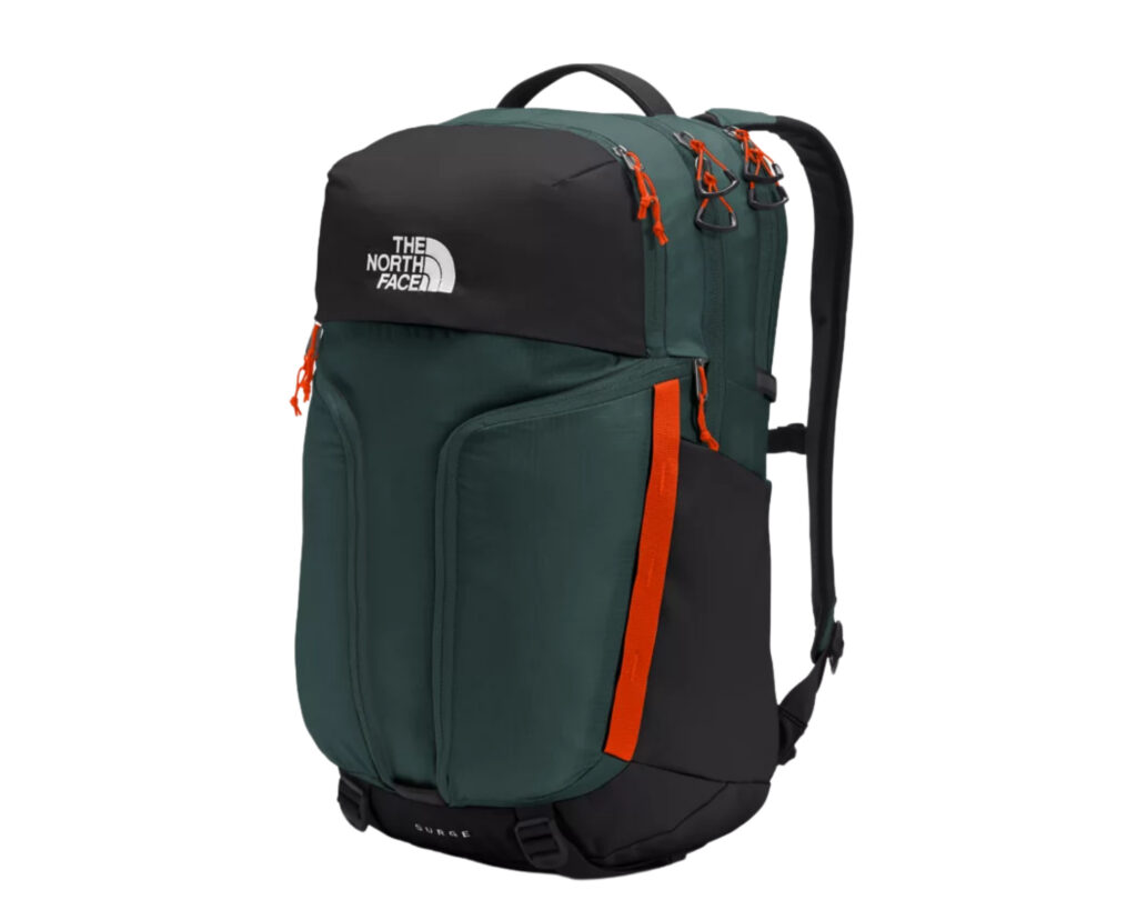 North Face Surge backpack review: the side view of the newly designed North Face Surge backpack
