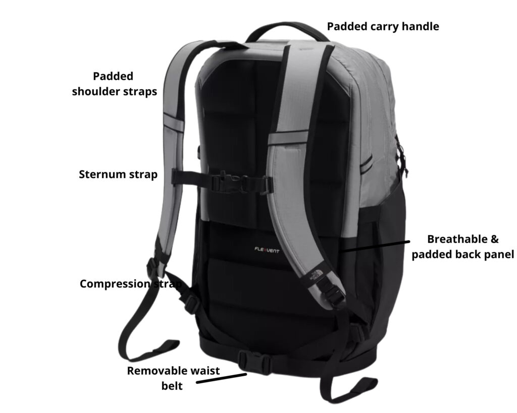 North Face Surge backpack review: back view of the North Face Surge